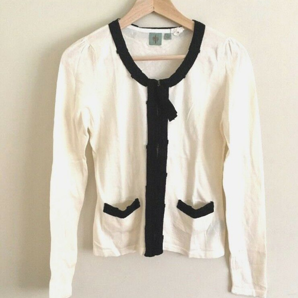 Anthropologie Sweaters - Anthropologie black and cream cardigan - Small